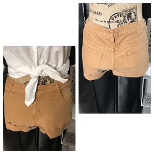 Tan Cuffed Leg Shorts by Arizona Jean Co